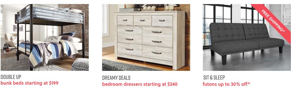 Bunk Beds, Bedroom Dressers, Futons