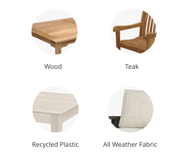 Wood, Teak, Recycled Plastic, All Weather Fabric