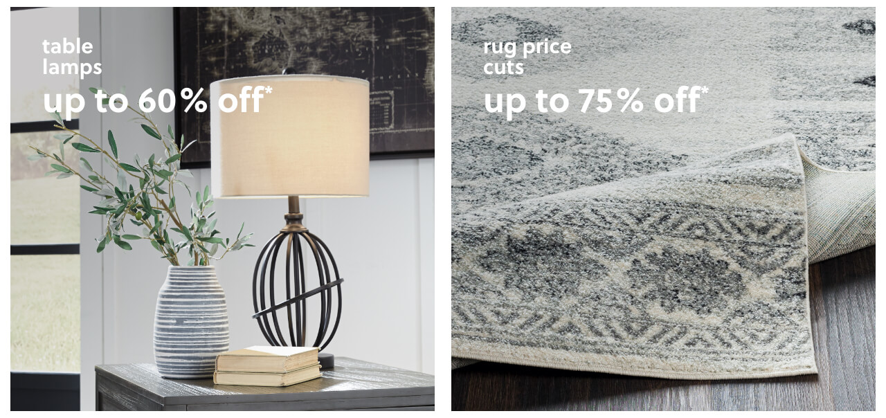 Up to 60% Off* Table Lamps, Rug Price Cuts up to 75% Off*,Wall Decor under $100 +Plus Free Shipping