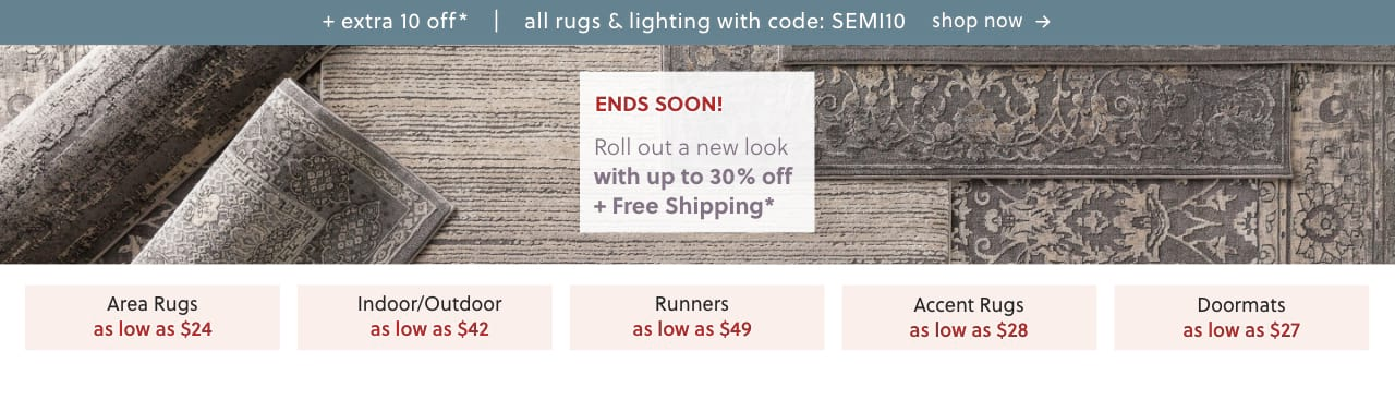Area Rugs, Indoor/Outdoor Rugs, Runner Rugs, Accent Rugs, Doormats