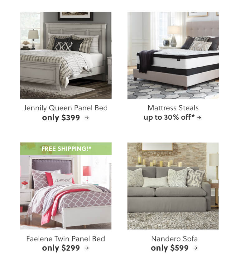 Jennily Queen Panel Bed, Mattress Steals, Faelene Twin Panel Bed, Nandero Sofa
