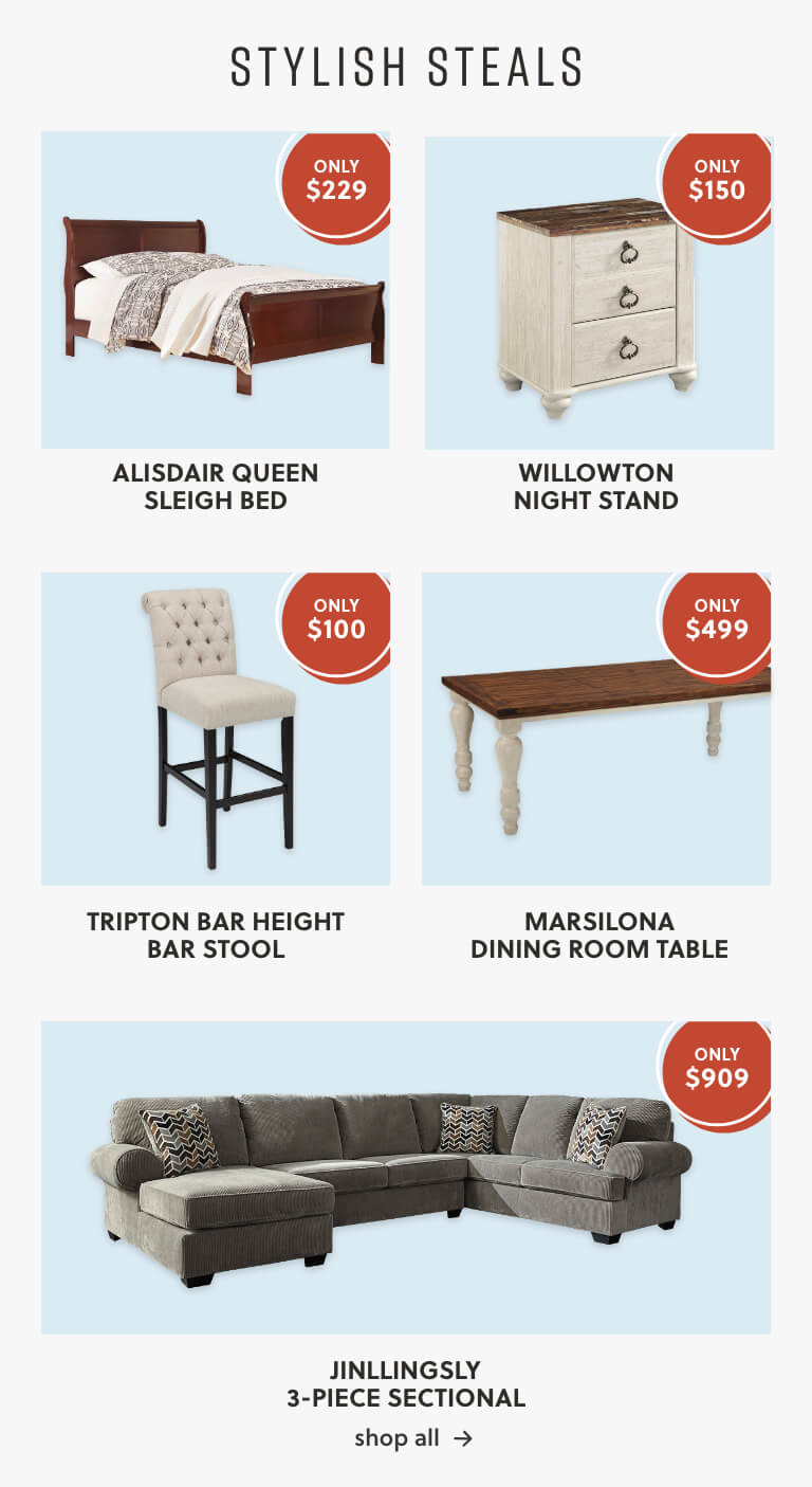 Alisdair Queen Sleigh Bed, Willowton Night Stand, Tripton Bar Heigh Stool, Marsilona Dining Table, Jinllingsly Sectional