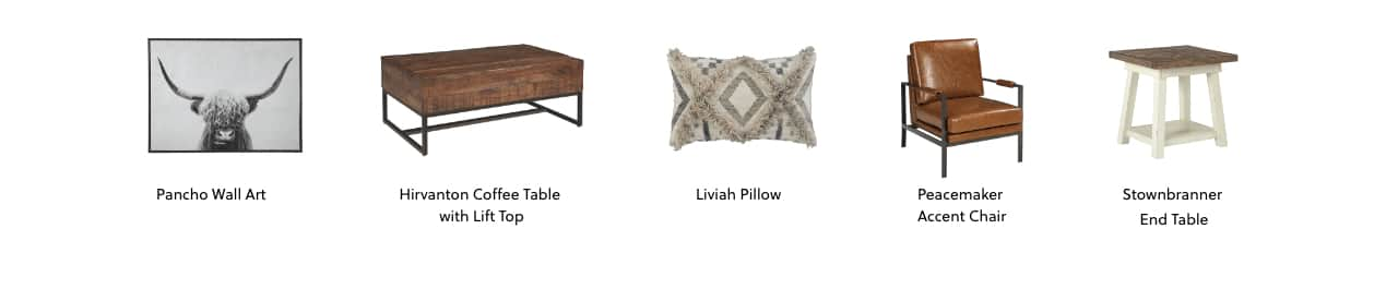 Pancho Wall Art, Hirvanton Coffee Table with Lift Top, Liviah Pillow, Peacemaker Accent Chair, Stownbranner End Table