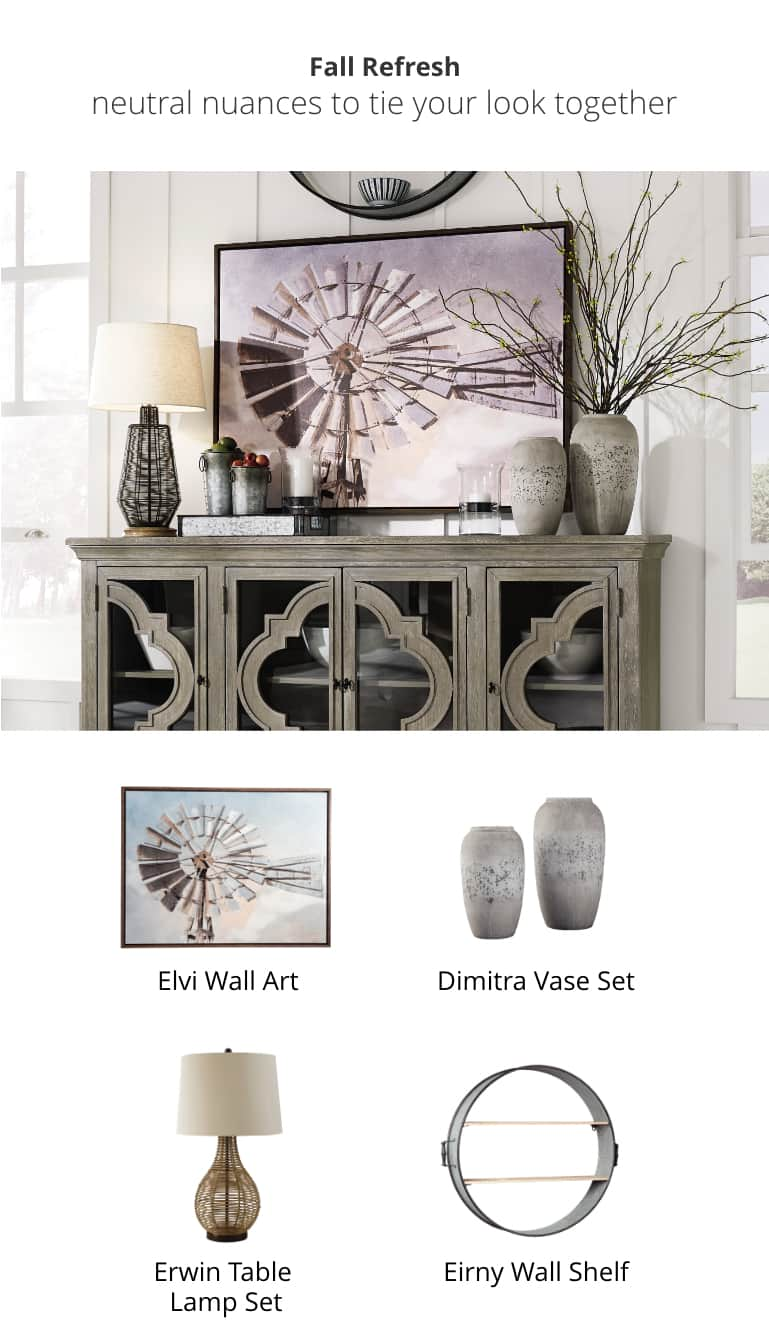 Elvi Wall Art, Artie Table Lamp, Dimitra Vase Set, Eirny Wall Shelf, Fossil Ridge Accent Cabinet