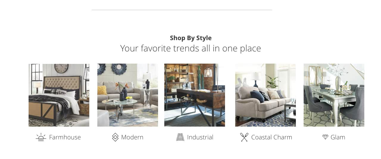 Shop by Style, Farmhouse, Modern, Industrial, Coastal Charm, Glam