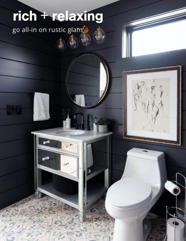 Mirror, faucet, towel rack, toilet paper holder, wall ar