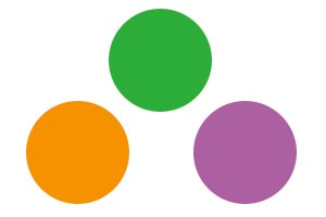 Secondary colors are green, orange, and purple