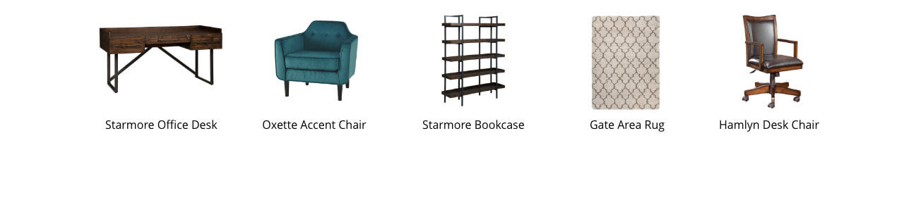 Starmore Office Desk, Oxette Accemt Chair, Starmore Bookcase, Wilder Area Rug, Moddano Dining Room Chair