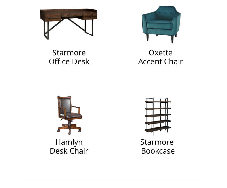 Starmore Office Desk, Oxette Accemt Chair, Starmore Bookcase, Moddano Dining Room Chair