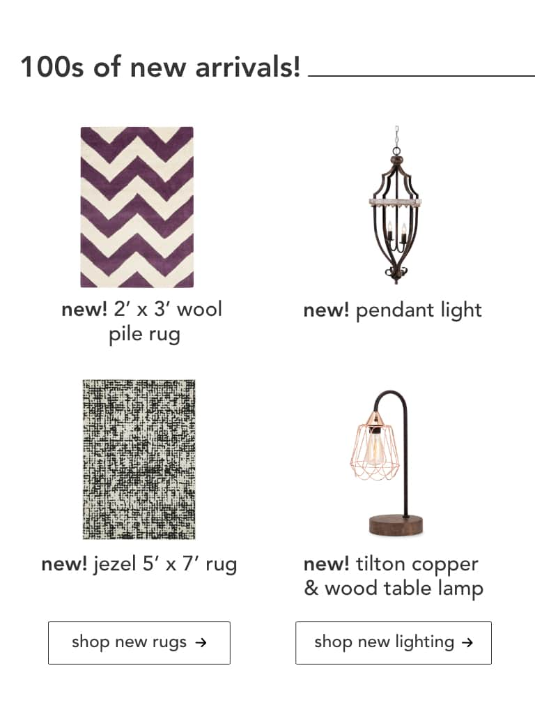 Wool Pile Rug, Pendant Light, Jezel Rug, Tilton Copper and Wood Table Lamp